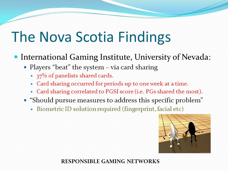 The Nova Scotia Findings International Gaming Institute, University of Nevada: Players beat the system – via card sharing 37% of panelists shared card