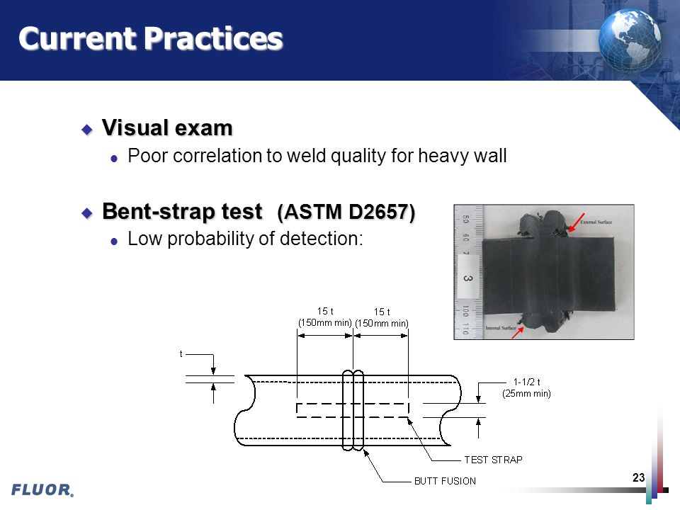 23 Current Practices u Visual exam l Poor correlation to weld quality for heavy wall u Bent-strap test (ASTM D2657) l Low probability of detection: