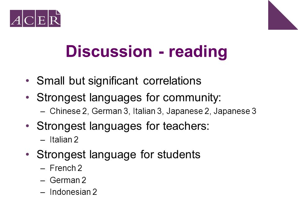 Discussion - reading Small but significant correlations Strongest languages for community: –Chinese 2, German 3, Italian 3, Japanese 2, Japanese 3 Str