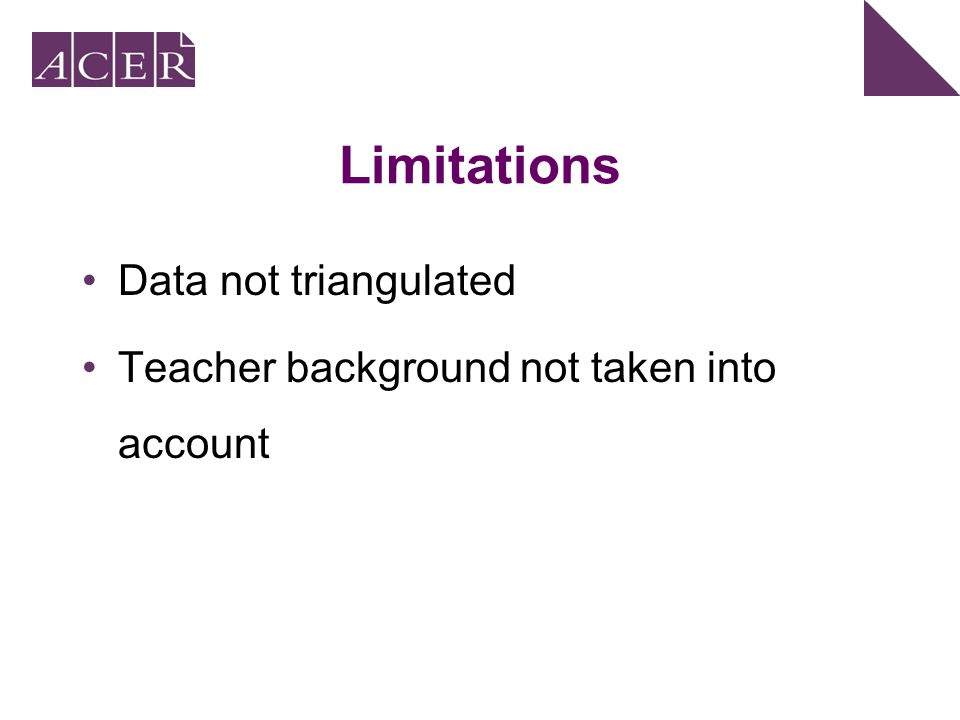 Limitations Data not triangulated Teacher background not taken into account