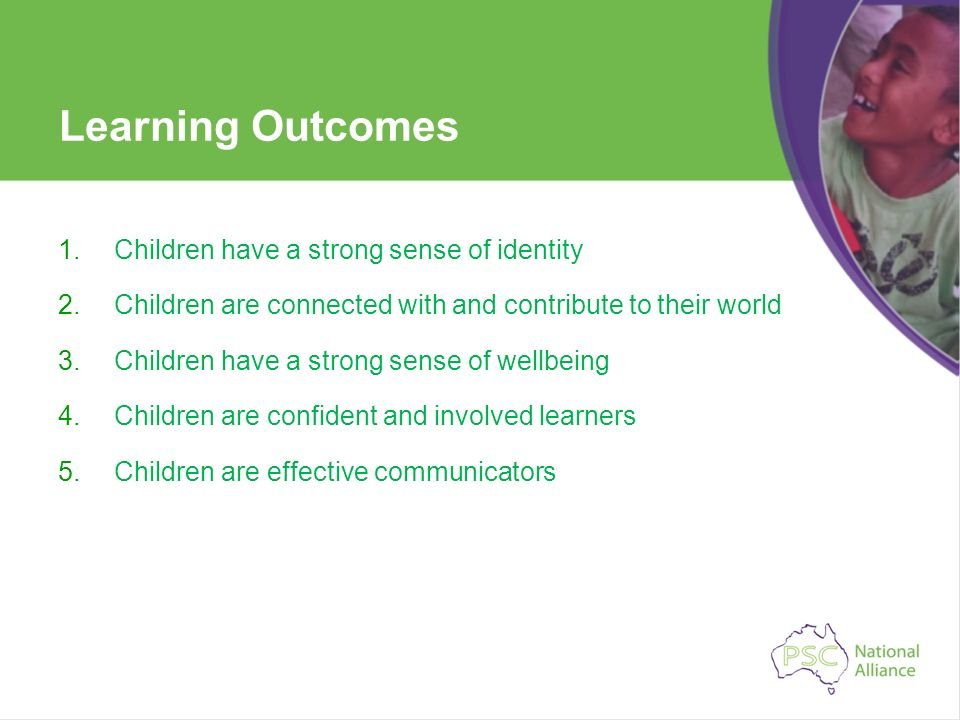 Learning Outcomes 1.Children have a strong sense of identity 2.Children are connected with and contribute to their world 3.Children have a strong sens