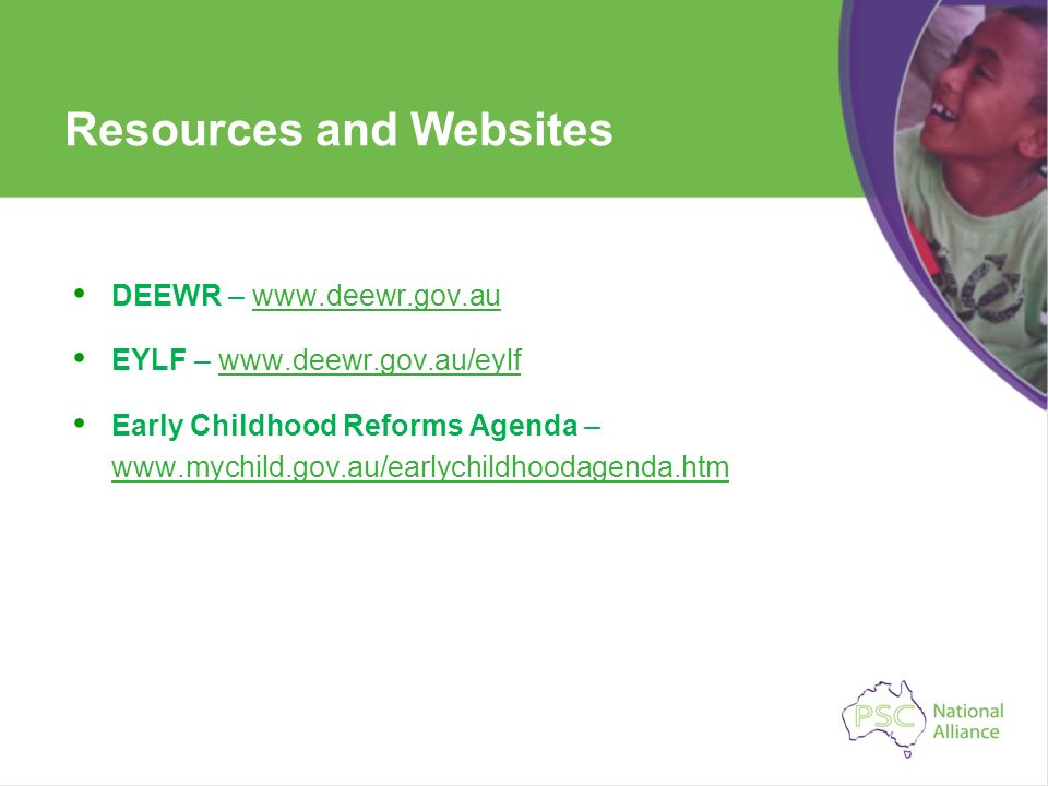 Resources and Websites DEEWR – www.deewr.gov.auwww.deewr.gov.au EYLF – www.deewr.gov.au/eylfwww.deewr.gov.au/eylf Early Childhood Reforms Agenda – www
