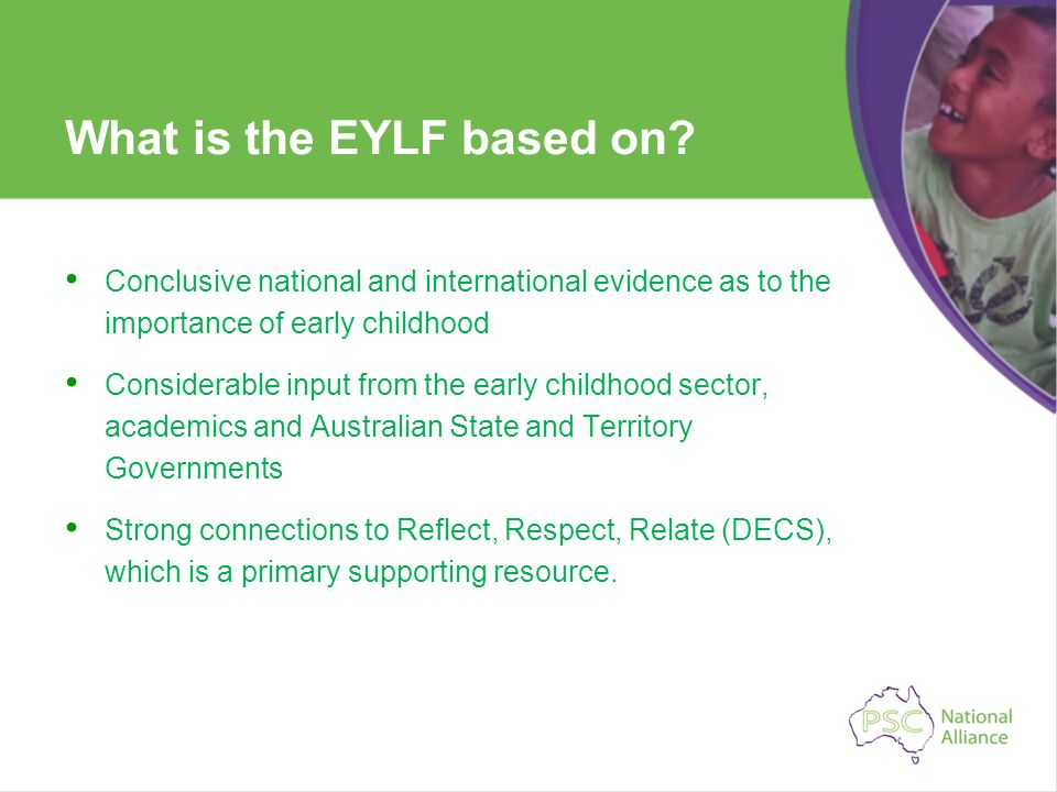 What is the EYLF based on? Conclusive national and international evidence as to the importance of early childhood Considerable input from the early ch