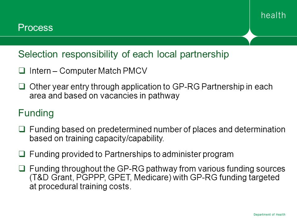 Process Selection responsibility of each local partnership Intern – Computer Match PMCV Other year entry through application to GP-RG Partnership in e