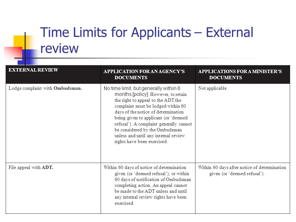 Time Limits for Applicants – External review EXTERNAL REVIEW APPLICATION FOR AN AGENCYS DOCUMENTS APPLICATIONS FOR A MINISTERS DOCUMENTS Lodge complai