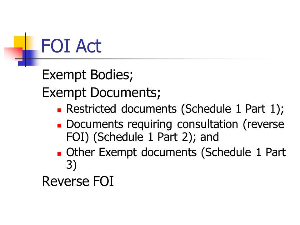 FOI Act Exempt Bodies; Exempt Documents; Restricted documents (Schedule 1 Part 1); Documents requiring consultation (reverse FOI) (Schedule 1 Part 2);