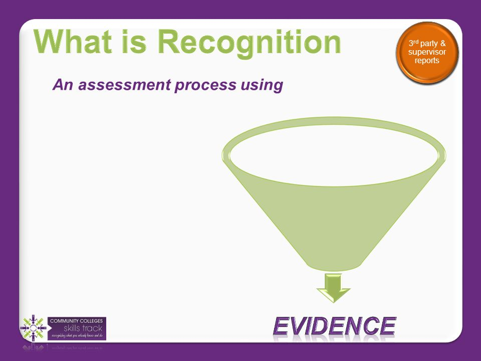 Evidence can include Certificates, training records etc.
