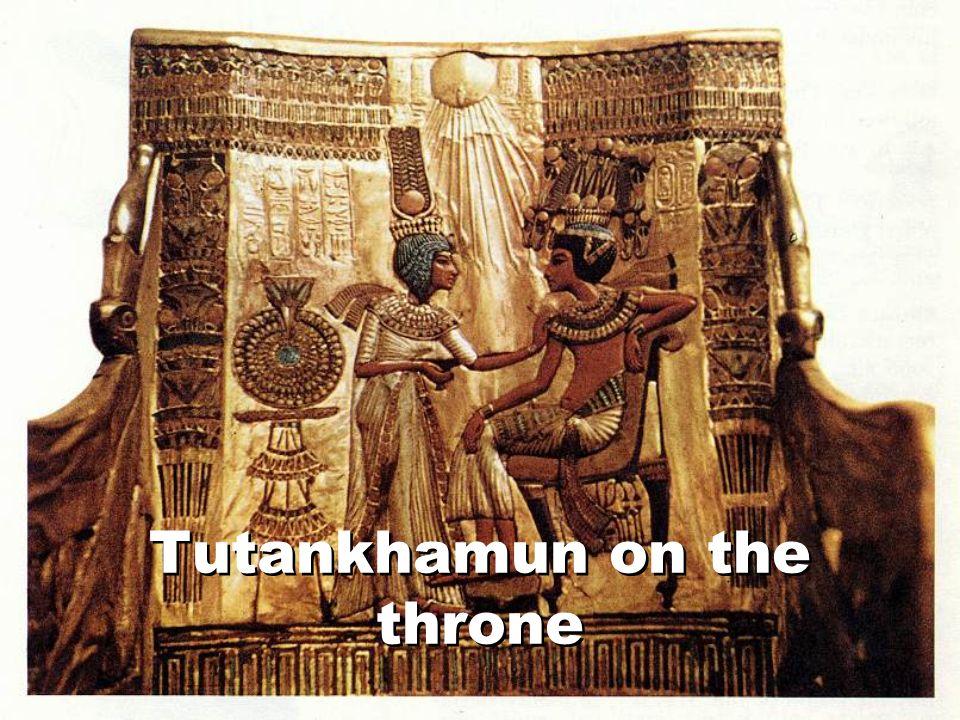 Tutankhamun on the throne