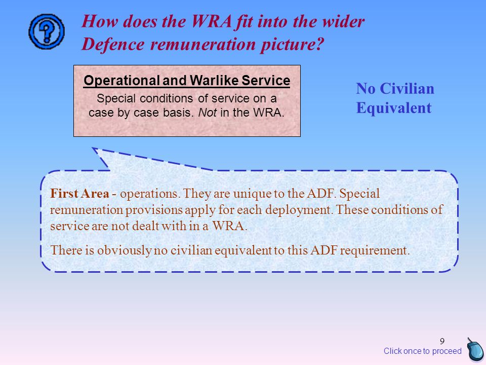 9 Operational and Warlike Service Special conditions of service on a case by case basis.