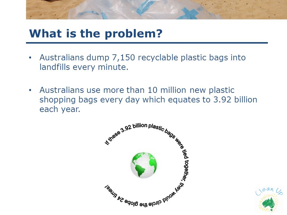What is the problem? Australians dump 7,150 recyclable plastic bags into landfills every minute. Australians use more than 10 million new plastic shop