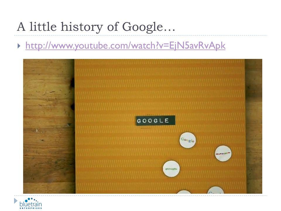 A little history of Google… http://www.youtube.com/watch?v=EjN5avRvApk