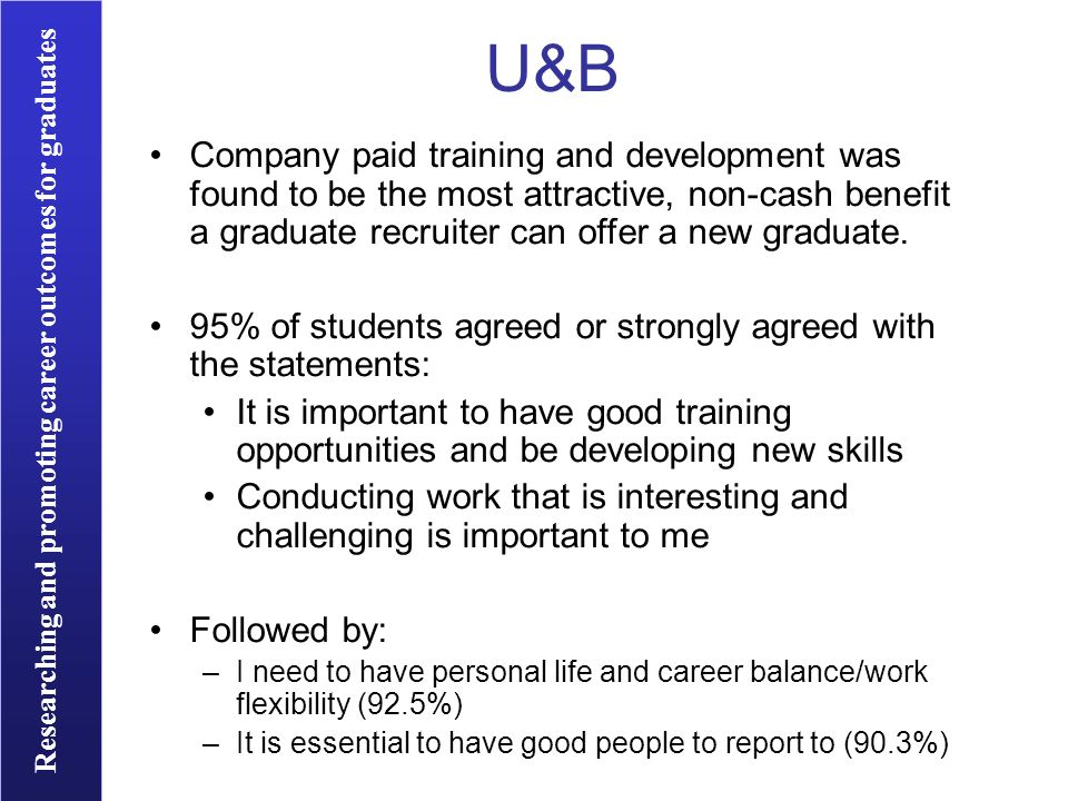 Researching and promoting career outcomes for graduates U&B Company paid training and development was found to be the most attractive, non-cash benefi