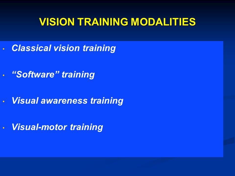 VISION TRAINING MODALITIES Classical vision training Software training Visual awareness training Visual-motor training