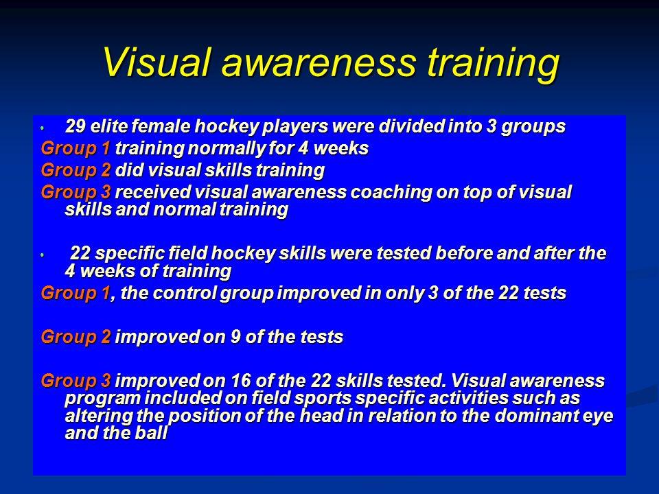 Visual awareness training 29 elite female hockey players were divided into 3 groups 29 elite female hockey players were divided into 3 groups Group 1