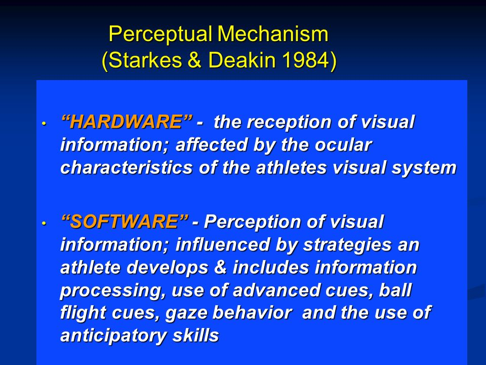 VISION TRAINING MODALITIES Classical vision training Software training Visual awareness training Visual-motor training