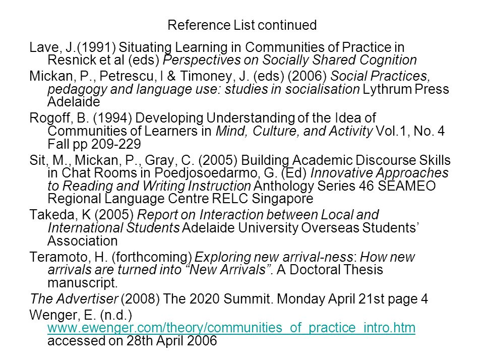 Reference List continued Lave, J.(1991) Situating Learning in Communities of Practice in Resnick et al (eds) Perspectives on Socially Shared Cognition
