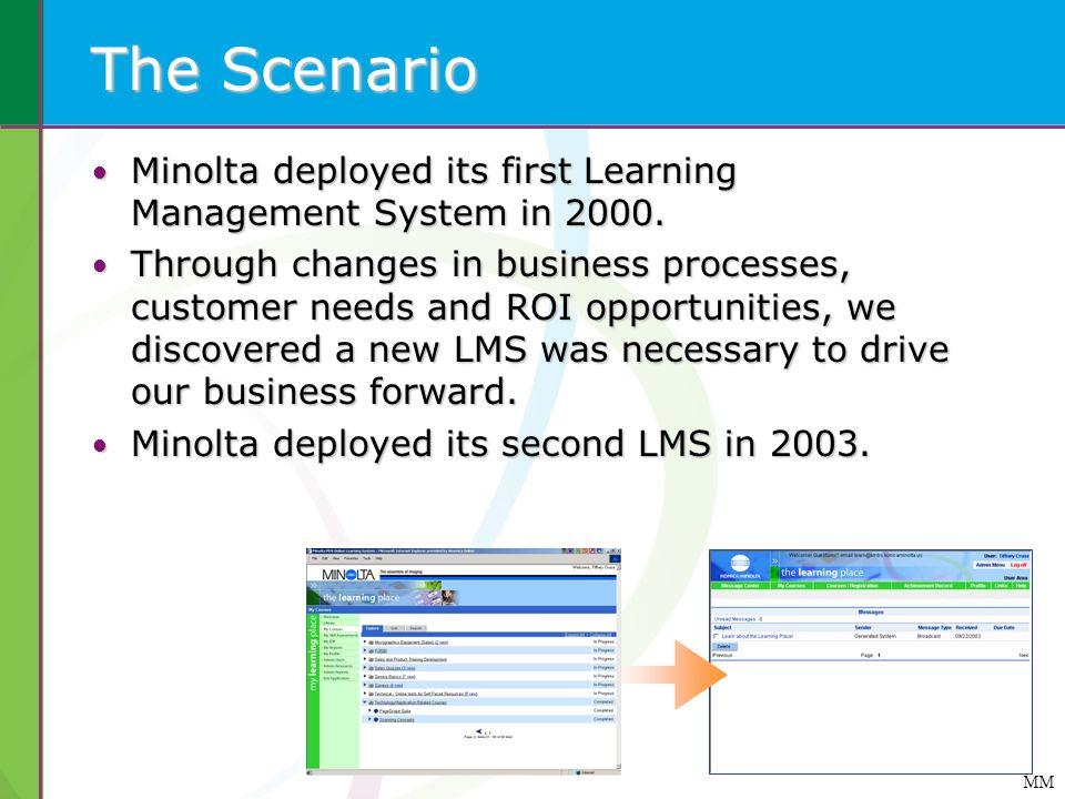 The Scenario Minolta deployed its first Learning Management System in 2000. Minolta deployed its first Learning Management System in 2000. Through cha
