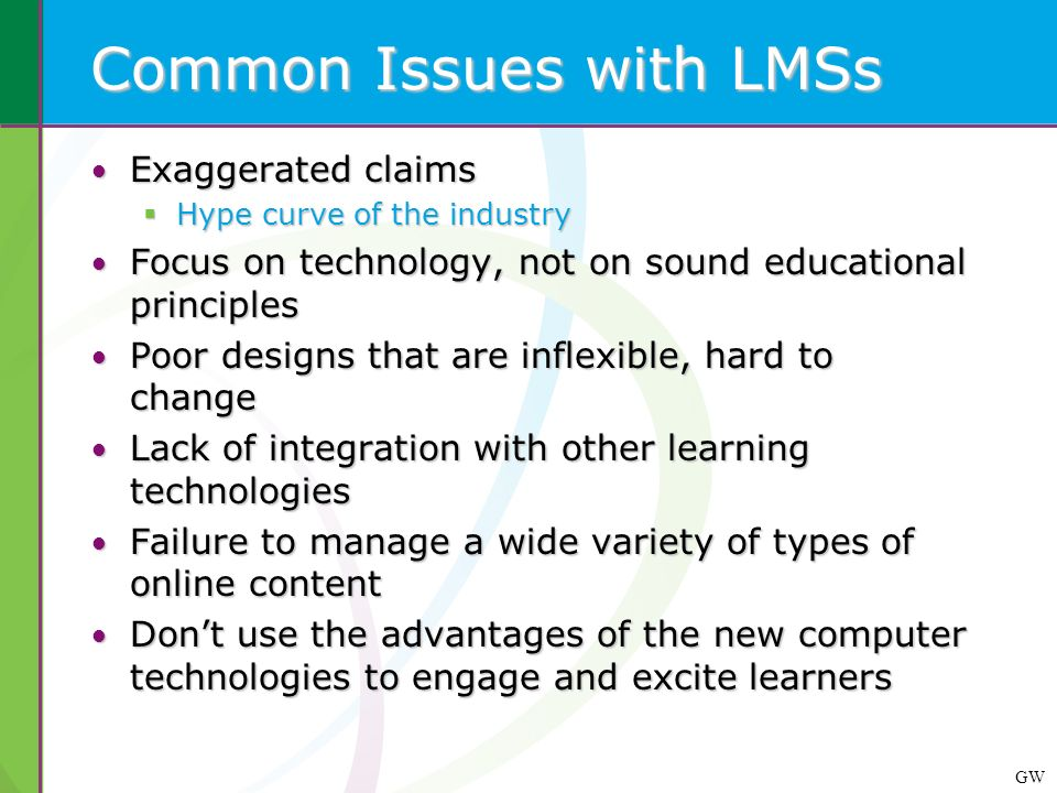 GW Common Issues with LMSs Exaggerated claims Exaggerated claims Hype curve of the industry Hype curve of the industry Focus on technology, not on sou