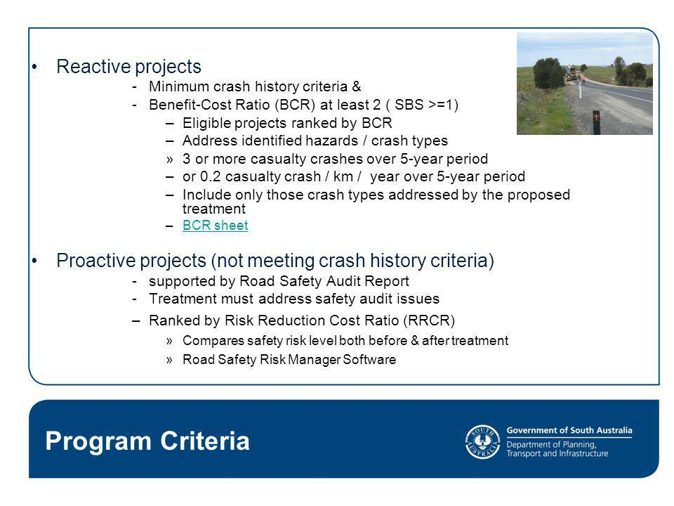 Program Criteria Reactive projects Minimum crash history criteria & Benefit-Cost Ratio (BCR) at least 2 ( SBS >=1) –Eligible projects ranked by BCR –A