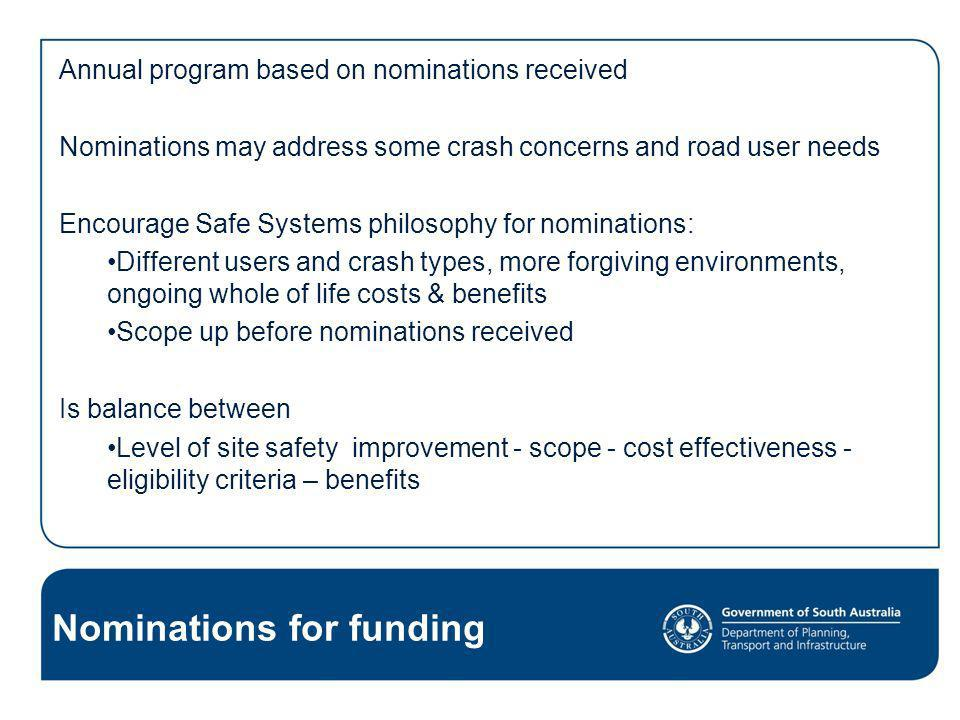 Nominations for funding Annual program based on nominations received Nominations may address some crash concerns and road user needs Encourage Safe Sy
