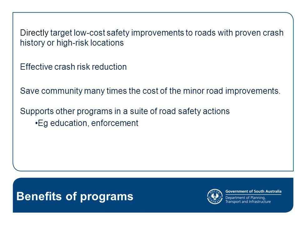 Black Spot Programs - effective programs - sound safety outcomes Reduce crash risk & trauma in our communities Safer and more forgiving road environments Good value for money.