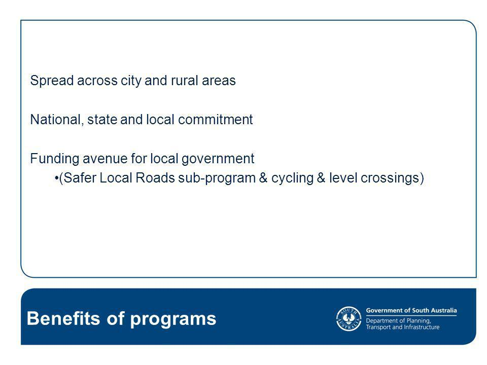 Benefits of programs Spread across city and rural areas National, state and local commitment Funding avenue for local government (Safer Local Roads su