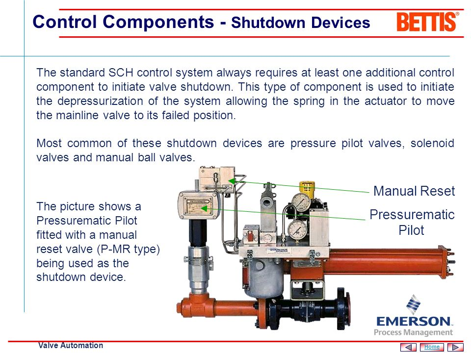 [File Name or Event] Emerson Confidential 27-Jun-01, Slide 14 Valve Automation Used to provide a local manual reset facility following mainline valve