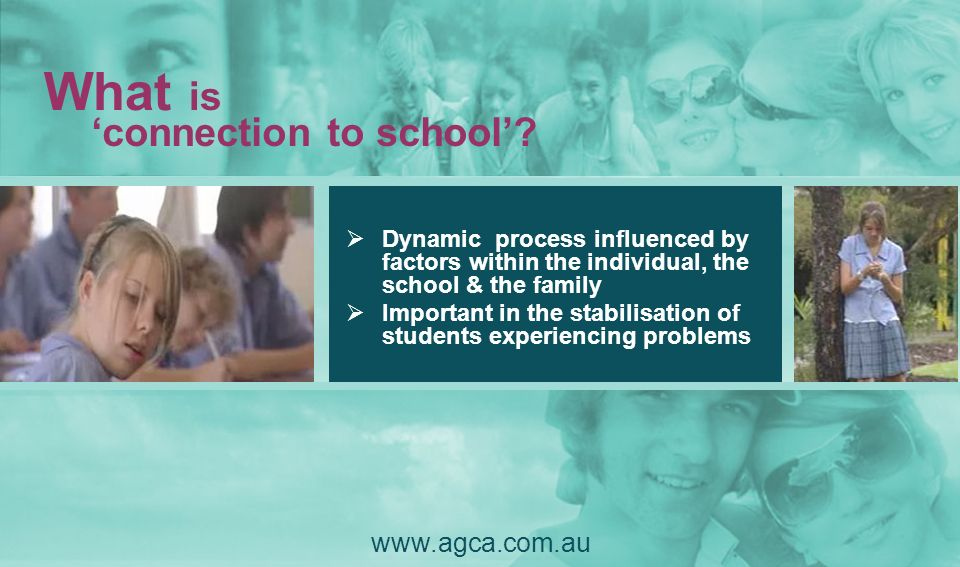 Dynamic process influenced by factors within the individual, the school & the family Important in the stabilisation of students experiencing problems