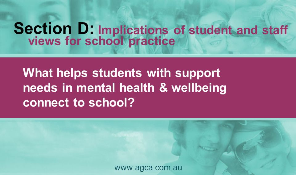 Section D: views for school practice What helps students with support needs in mental health & wellbeing connect to school? www.agca.com.au Implicatio