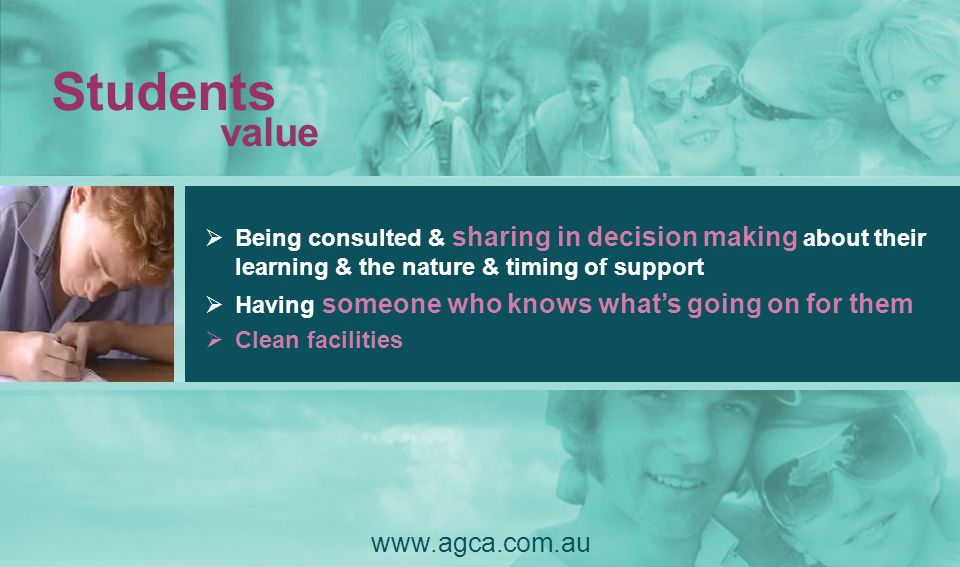 Students value www.agca.com.au Being consulted & sharing in decision making about their learning & the nature & timing of support Having someone who k
