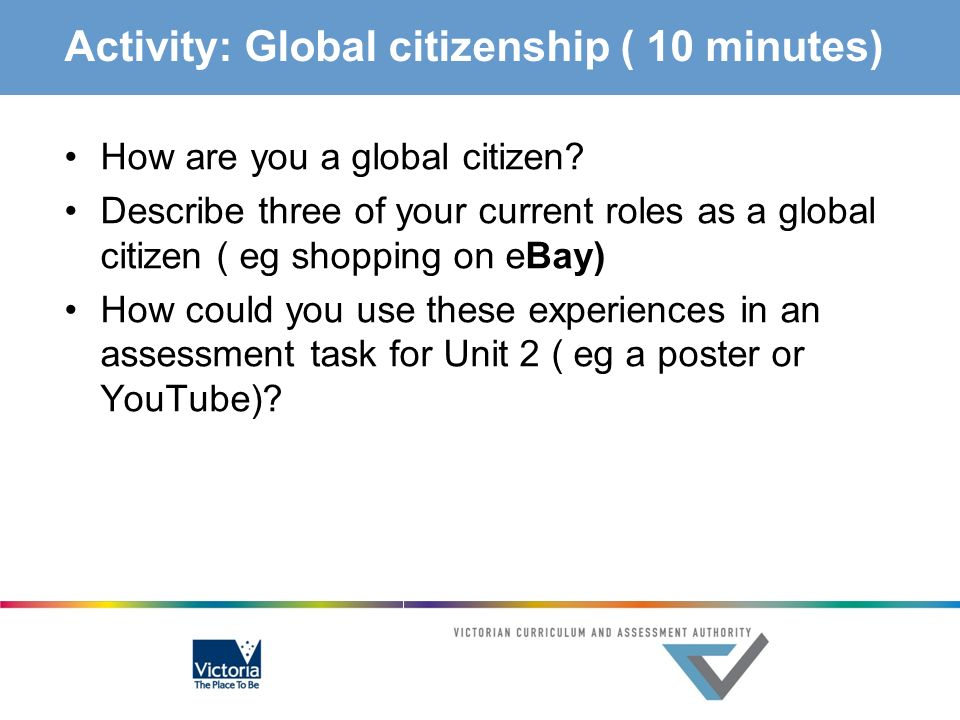 Activity: Global citizenship ( 10 minutes) How are you a global citizen? Describe three of your current roles as a global citizen ( eg shopping on eBa