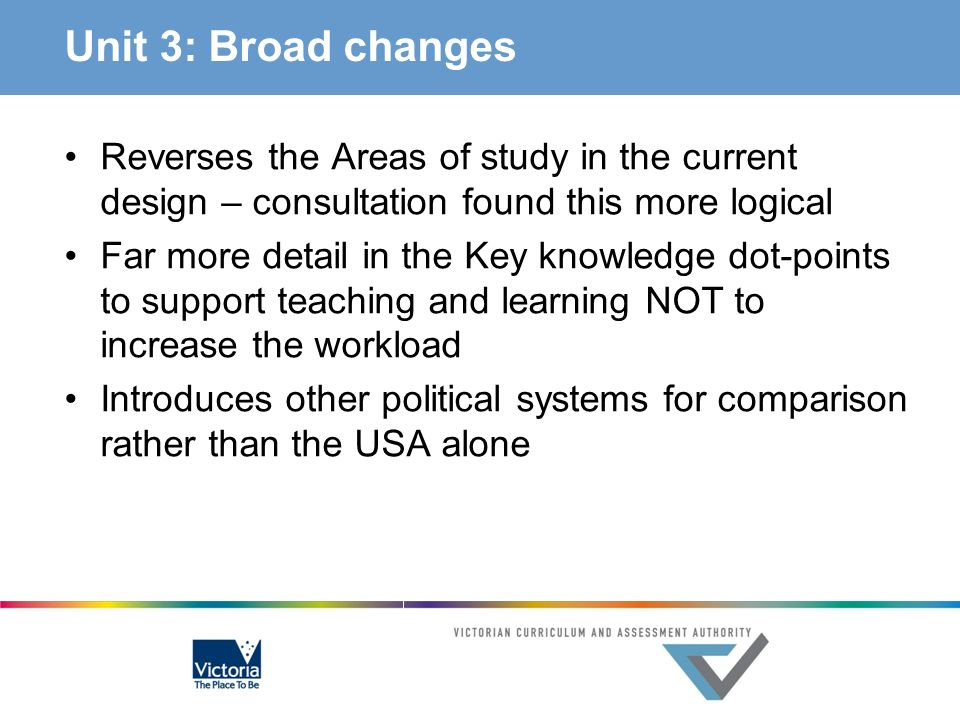 Unit 3: Broad changes Reverses the Areas of study in the current design – consultation found this more logical Far more detail in the Key knowledge do
