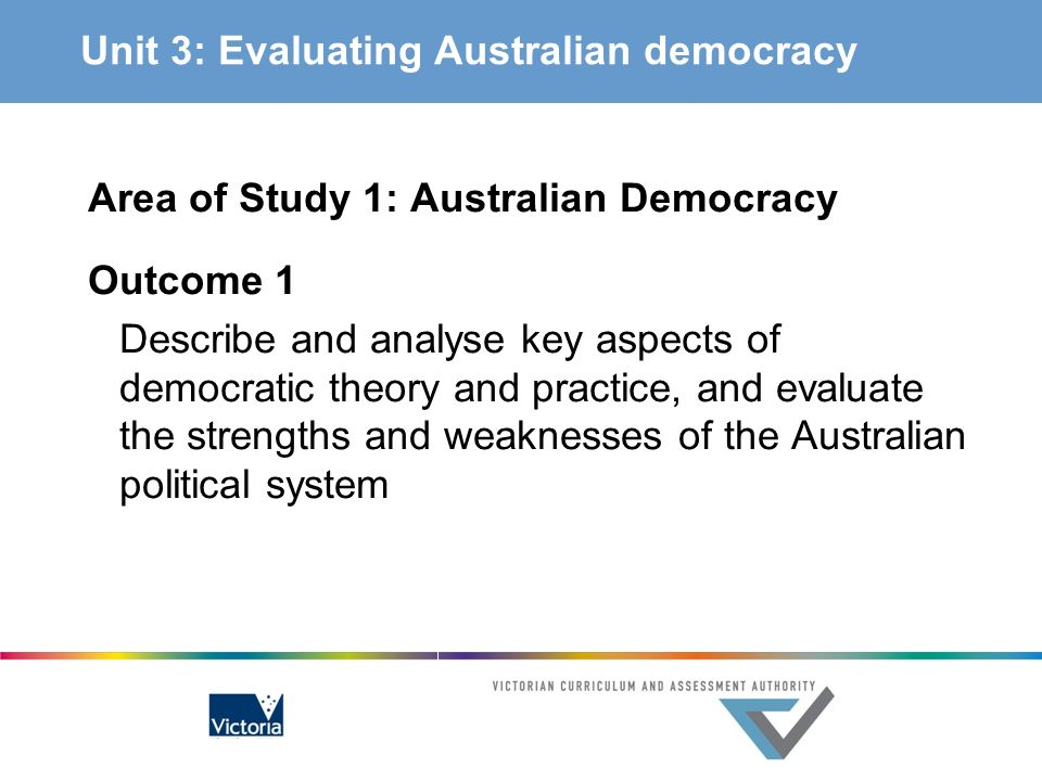 Unit 3: Evaluating Australian democracy Area of Study 1: Australian Democracy Outcome 1 Describe and analyse key aspects of democratic theory and prac