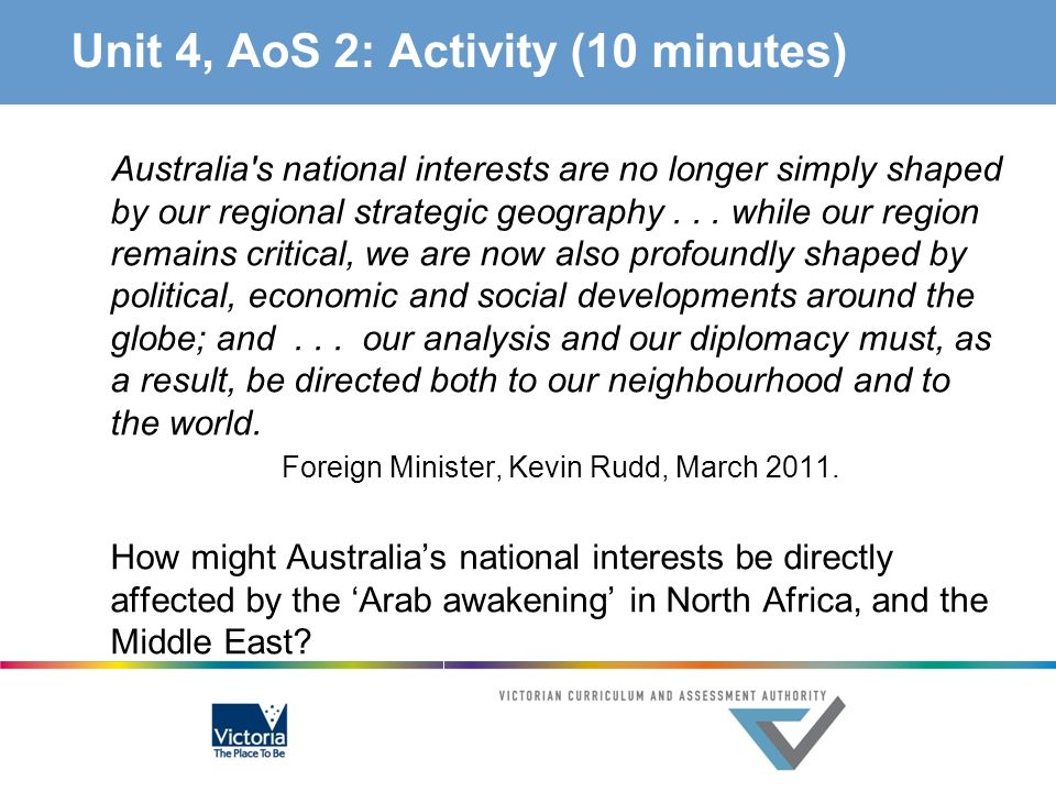Unit 4, AoS 2: Activity (10 minutes) Australia's national interests are no longer simply shaped by our regional strategic geography... while our regio