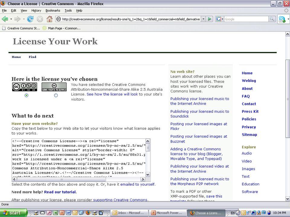 Licences AUSTRALIA part of the Creative Commons international initiative