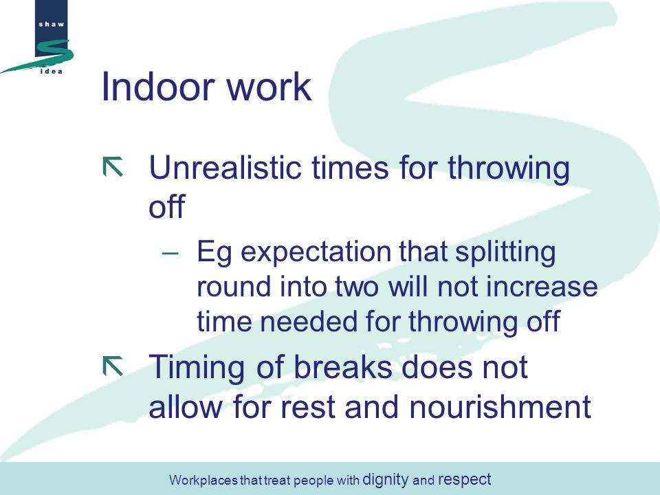 Indoor work Unrealistic times for throwing off –Eg expectation that splitting round into two will not increase time needed for throwing off Timing of breaks does not allow for rest and nourishment Workplaces that treat people with dignity and respect