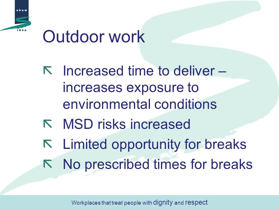 Outdoor work Increased time to deliver – increases exposure to environmental conditions MSD risks increased Limited opportunity for breaks No prescribed times for breaks Workplaces that treat people with dignity and respect