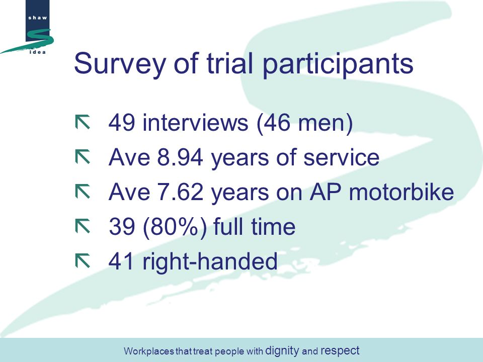 Survey of trial participants 49 interviews (46 men) Ave 8.94 years of service Ave 7.62 years on AP motorbike 39 (80%) full time 41 right-handed Workpl