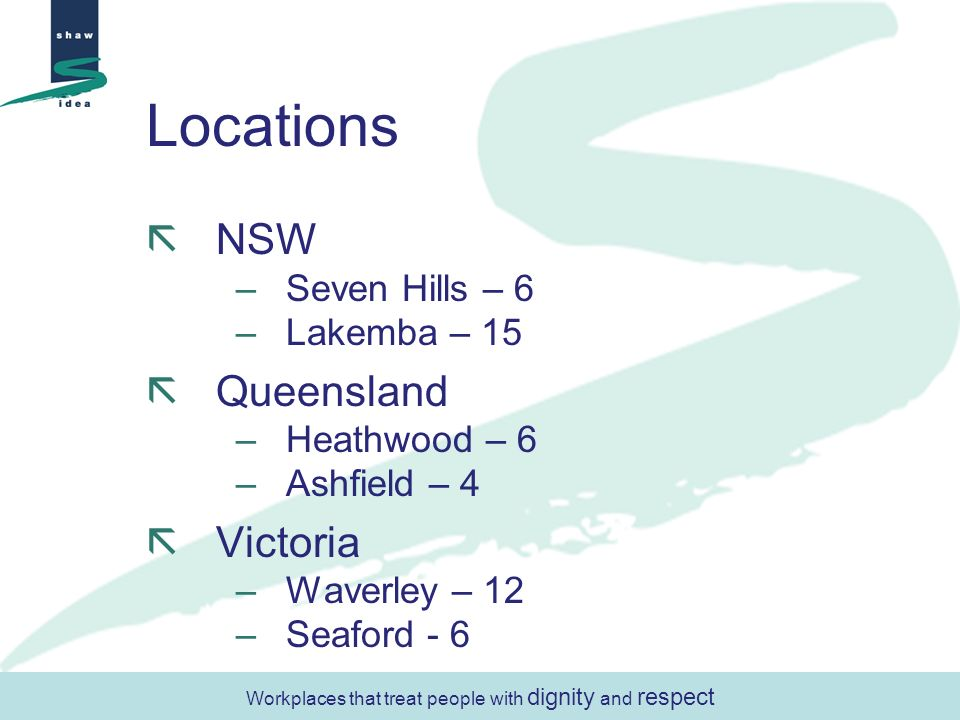 Locations NSW –Seven Hills – 6 –Lakemba – 15 Queensland –Heathwood – 6 –Ashfield – 4 Victoria –Waverley – 12 –Seaford - 6 Workplaces that treat people