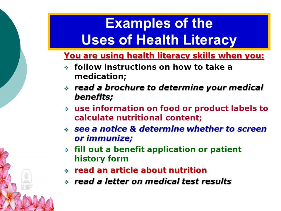 Importance of Health Literacy Health literacy comes from a convergence of education, cultural & social factors, and health services. Health literacy c