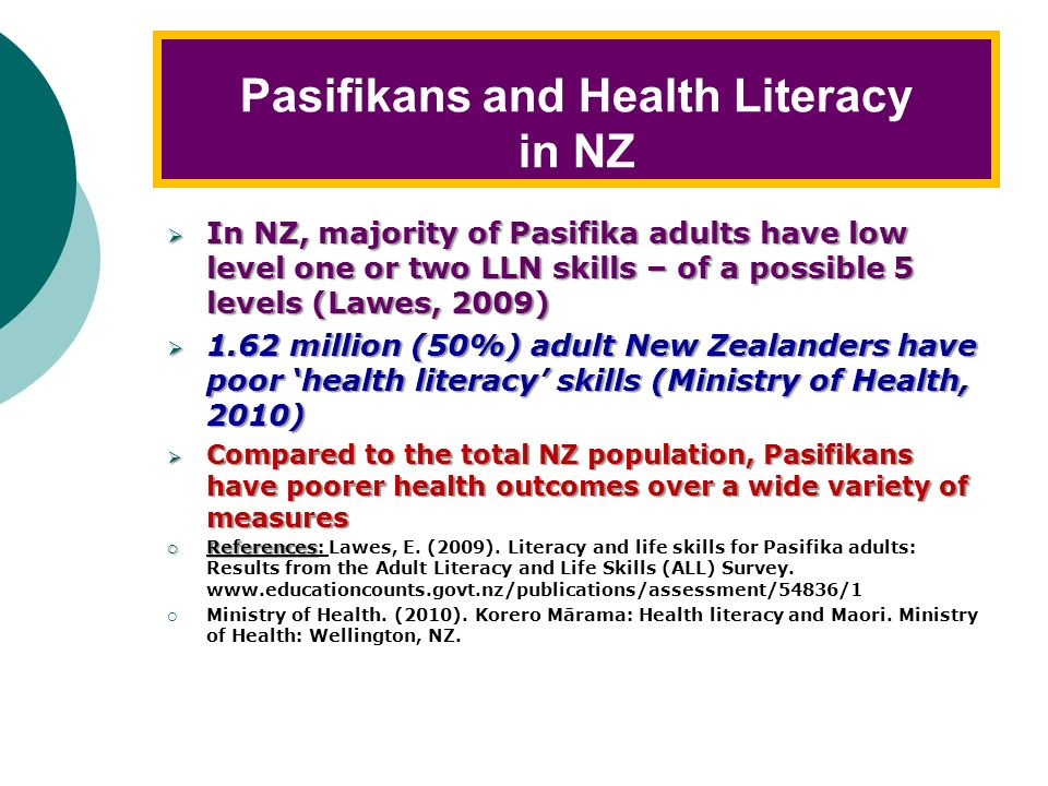 Ways to Measure Health Literacy Functional measurements: ALLS – Adult Literacy and Life Skills Survey TOFHLA – Test of Functional Health Literacy in A