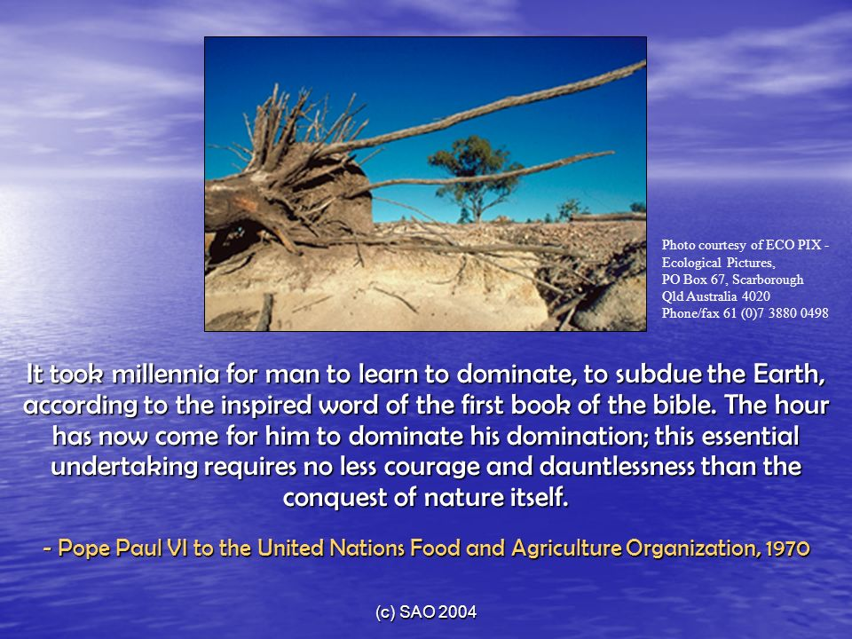 (c) SAO 2004 It took millennia for man to learn to dominate, to subdue the Earth, according to the inspired word of the first book of the bible. The h