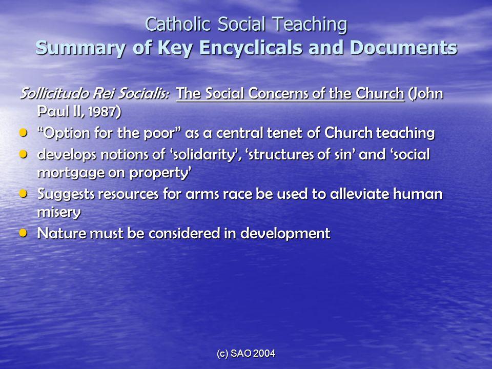 (c) SAO 2004 Catholic Social Teaching Summary of Key Encyclicals and Documents Sollicitudo Rei Socialis: The Social Concerns of the Church (John Paul