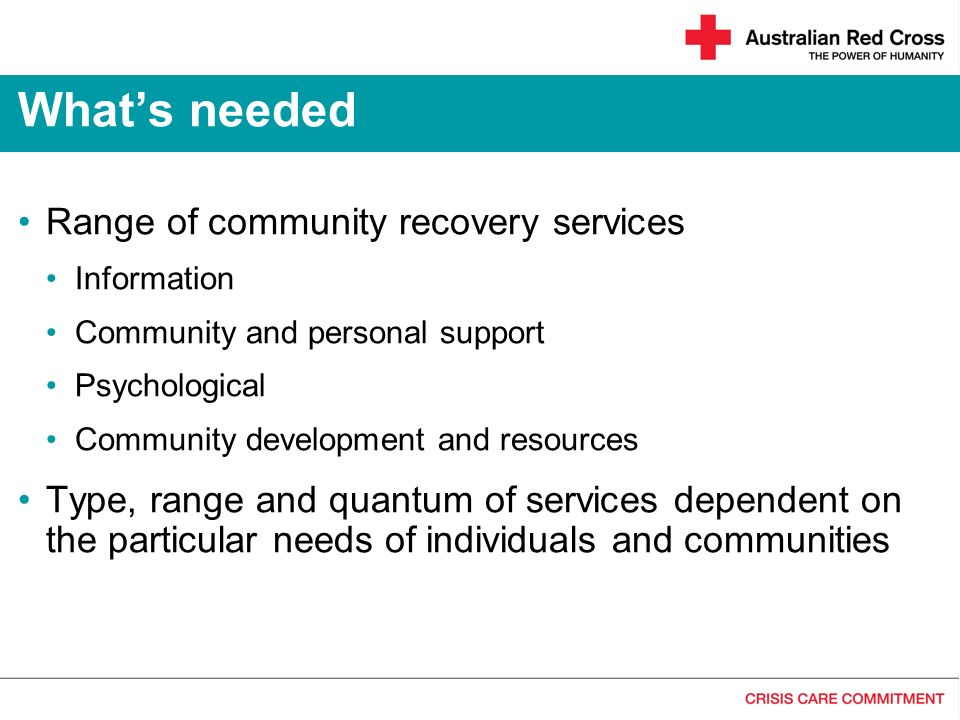 Range of community recovery services Information Community and personal support Psychological Community development and resources Type, range and quan