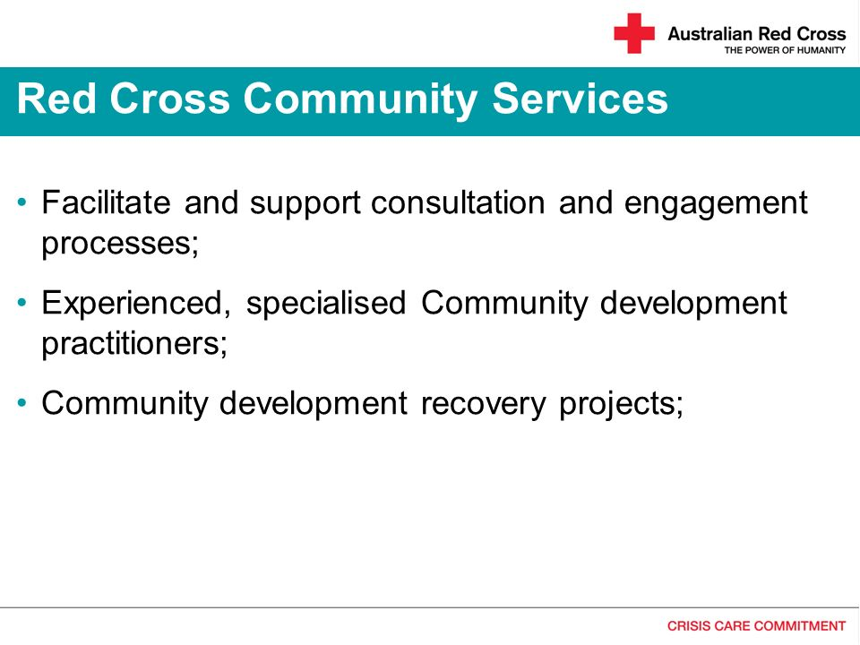 Facilitate and support consultation and engagement processes; Experienced, specialised Community development practitioners; Community development reco