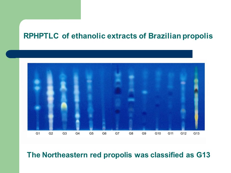 RPHPTLC of ethanolic extracts of Brazilian propolis The Northeastern red propolis was classified as G13