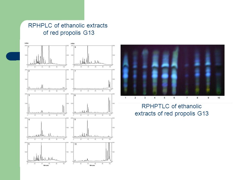 RPHPLC of ethanolic extracts of red propolis G13 RPHPTLC of ethanolic extracts of red propolis G13