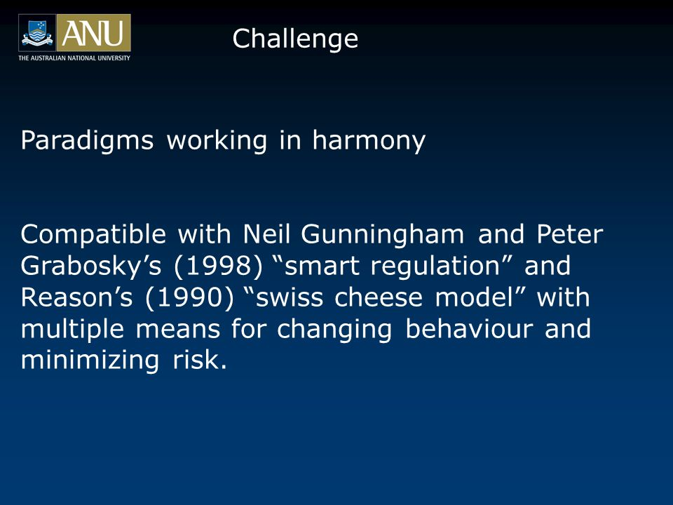 Challenge Paradigms working in harmony Compatible with Neil Gunningham and Peter Graboskys (1998) smart regulation and Reasons (1990) swiss cheese model with multiple means for changing behaviour and minimizing risk.