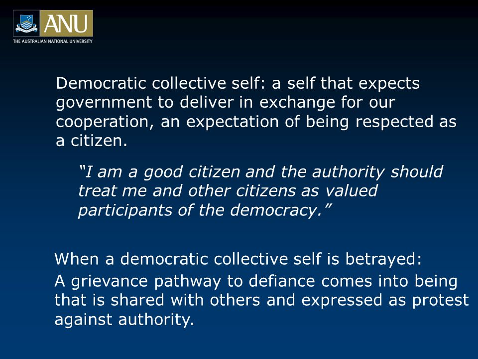 Democratic collective self: a self that expects government to deliver in exchange for our cooperation, an expectation of being respected as a citizen.