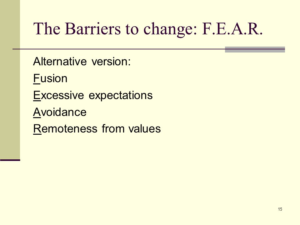 15 The Barriers to change: F.E.A.R. Alternative version: Fusion Excessive expectations Avoidance Remoteness from values